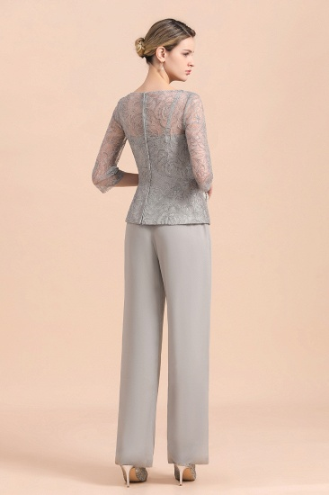 Elegant 3/4 Sleeves Lace Chiffon Affordable Mother of Bride Jumpsuit Online_3