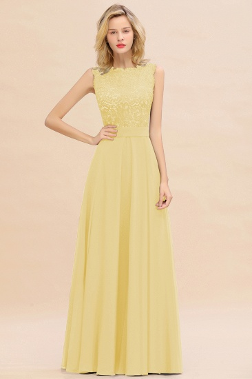 Exquisite Scoop Chiffon Lace Bridesmaid Dresses with V-Back_18