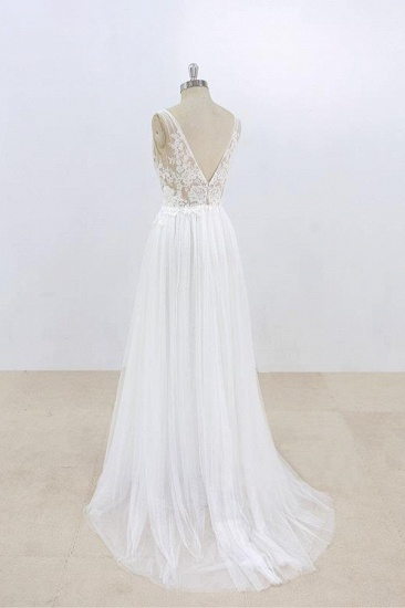 BMbridal Sexy V-neck Sleeveless Straps Wedding Dresses White Tulle Ruffles Lace Bridal Gowns Online_5