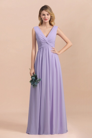 Gorgeous V-Neck Ruffle Lilac Chiffon Affordable Bridesmaid Dress with Ruffle_8