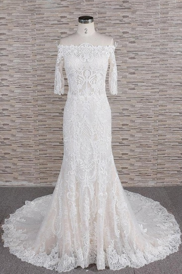 Unique Halfsleeves Lace Mermaid Wedding Dresses Champagne Bateau Bridal Gowns On Sale_1