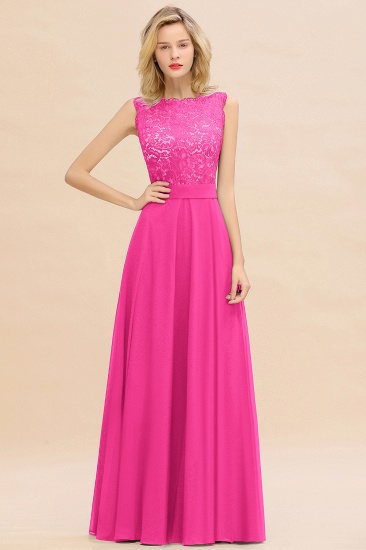 Exquisite Scoop Chiffon Lace Bridesmaid Dresses with V-Back_9