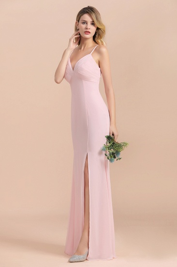 Affordable Sheath V-Neck Blushing Pink Chiffon Bridesmaid Dress with Spaghetii Straps_4