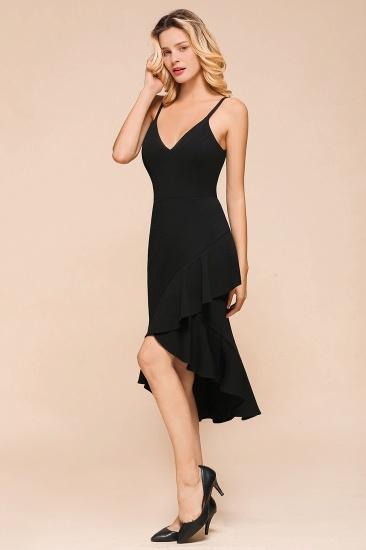 Sexy Black Spaghetti-Strap Short Prom Dress Mermaid Ruffles Homecoming Dress_4