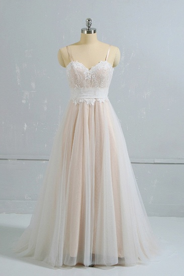 Stylish Spaghetti Straps Sleeveless Lace Wedding Dresses Champgne A-line Ruffles Bridal Gowns On Sale_1