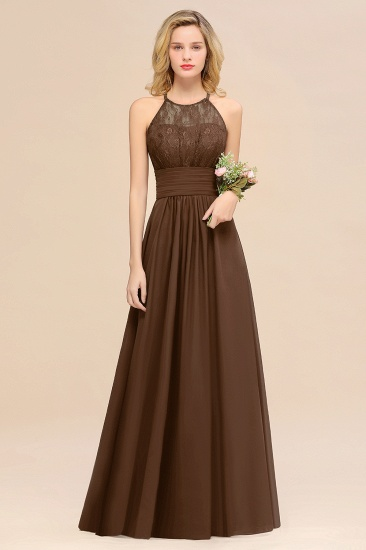 Elegant Halter Ruffles Sleeveless Grape Lace Bridesmaid Dresses Cheap_12