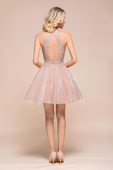 BMbridal Lovely Halter Lace Short Prom Dress Sleeveless Mini Party Gowns_3