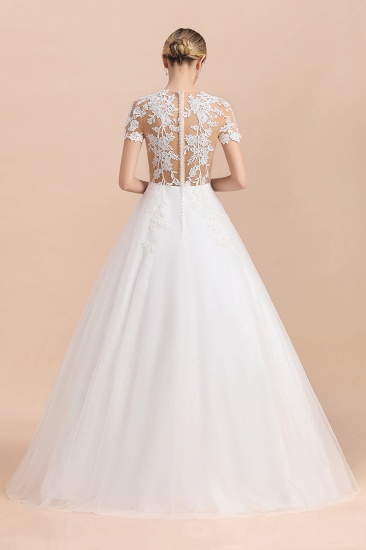 BMbridal Sexy See Through Tulle Appliques Short Sleeves Wedding Dress_3