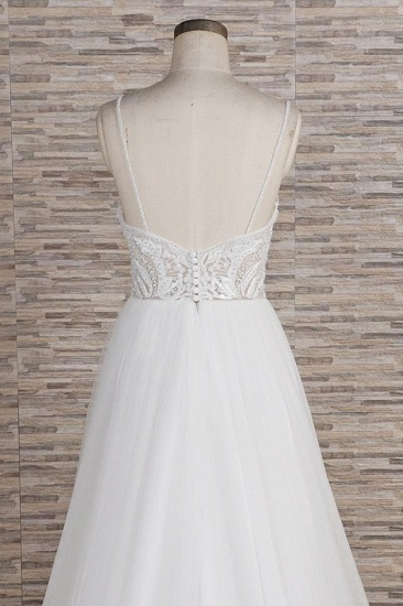 Glamorous V-neck Spaghetti Straps White Wedding Dresses A-line Sleeveless Tulle Lace Bridal Gowns Online_7