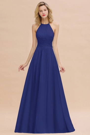 Glamorous Halter Backless Long Affordable Bridesmaid Dresses with Ruffle_26