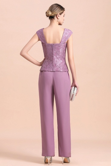 Elegant Cap-Sleeves Lace Chiffon Affordable Mother of Bride Jumpsuit Online with Wrap_11
