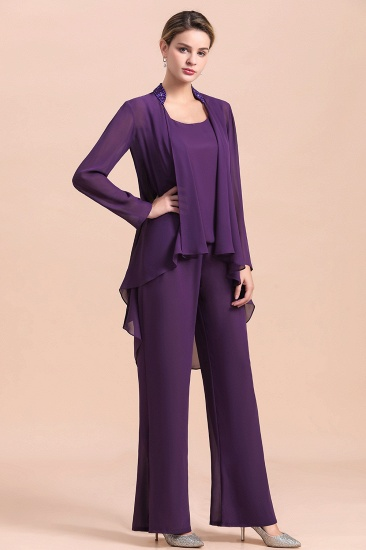 Affordable Straps Beading Grape Chiffon Mother of Bride Jumpsuit Online with Wrap_6