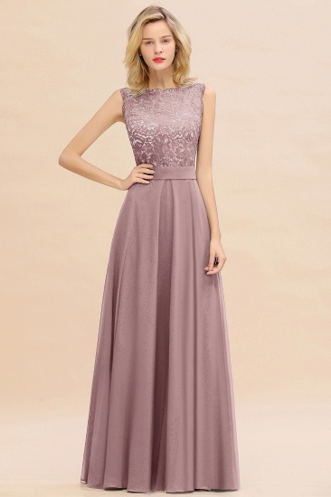 Exquisite Scoop Chiffon Lace Bridesmaid Dresses with V-Back_37
