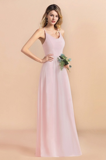 Chic Spaghetti Straps Chiffon Pink Bridesmaid Dresses with Crisscross Back_6