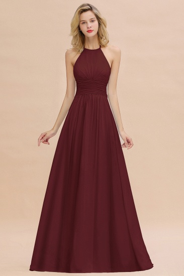 Glamorous Halter Backless Long Affordable Bridesmaid Dresses with Ruffle_10