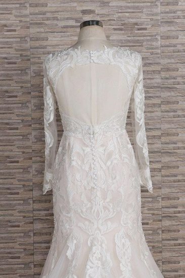 BMbridal Gorgeous Longsleeves V-neck Mermaid Wedding Dresses White Lace Bridal Gowns With Appliques On Sale_5