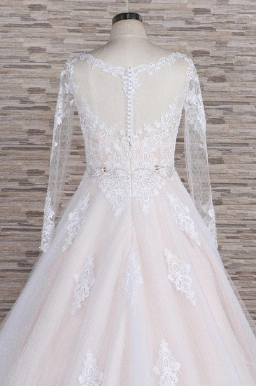 BMbridal Elegant Longsleeves Jewel Lace Wedding Dresses Jewel Tulle Champagne Bridal Gowns On Sale_7