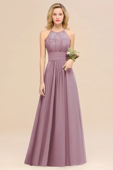 Elegant Halter Ruffles Sleeveless Grape Lace Bridesmaid Dresses Cheap_43