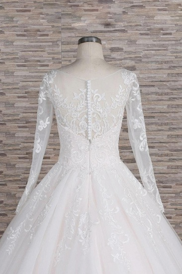 BMbridal Chic Longsleeves Jewel Tulle Wedding Dresses A-line Bridal Gowns With Appliques Online_7