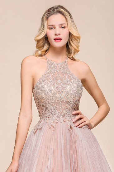 BMbridal Lovely Halter Lace Short Prom Dress Sleeveless Mini Party Gowns_7