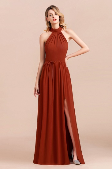 Rust Halter Long Bridesmaid Dresses Online With Front Split_1