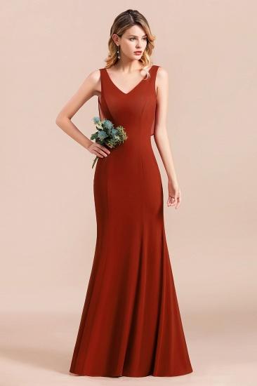 Charming Mermaid V-Neck Drapped Back Bridesmaid Dress Online_4