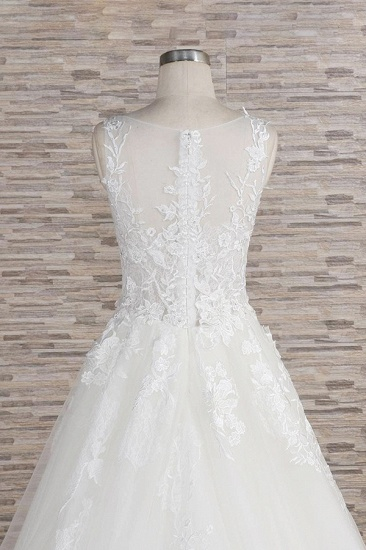 BMbridal Gorgeous Sleeveless Jewel Tulle Wedding Dresses A-line Ruufles Lace Bridal Gowns With Appliques_7