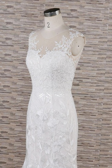 BMbridal Gorgeous Sleeveless Straps Lace Wedding Dresses Jewel Straps Mermaid Bridal Gowns With Appliques On Sale_7
