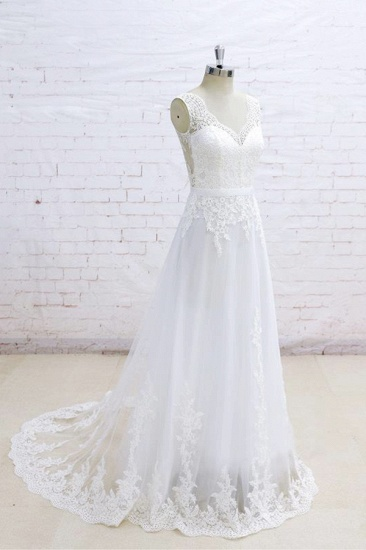 Stylish Sleeveless Straps V-neck Wedding Dresses White A-line Tulle Bridal Gowns With Appliques On Sale_4