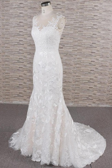 BMbridal Gorgeous Sleeveless Straps Lace Wedding Dresses Jewel Straps Mermaid Bridal Gowns With Appliques On Sale_4