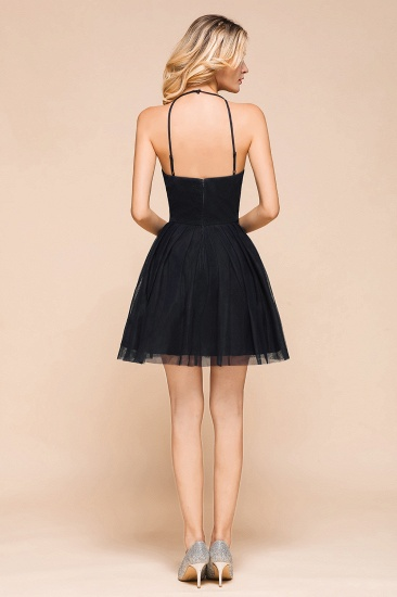 BMbridal Lovely Halter Tulle Short Prom Dress Lace Appliques Homecoming Dress Online_3