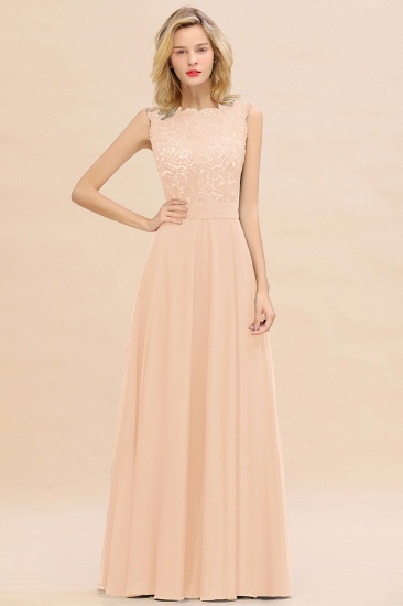 Exquisite Scoop Chiffon Lace Bridesmaid Dresses with V-Back_5