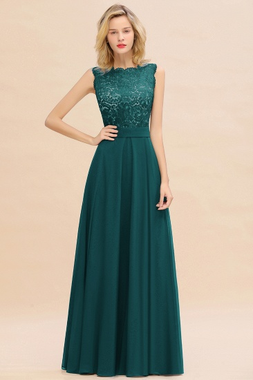 Exquisite Scoop Chiffon Lace Bridesmaid Dresses with V-Back_33