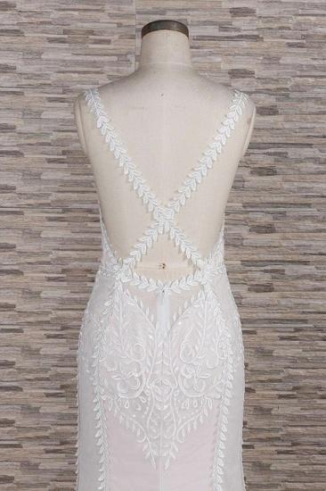 BMbridal Elegant Straps A-line Lace Wedding Dresses White Mermaid V-neck Bridal Gowns On Sale_7