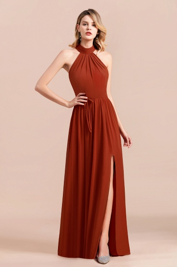 Rust Halter Long Bridesmaid Dresses Online With Front Split_7
