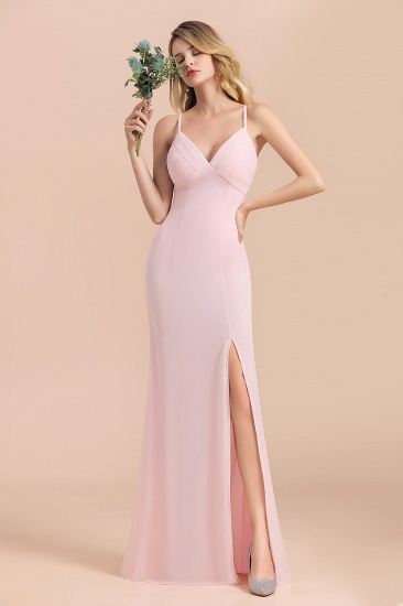 Affordable Sheath V-Neck Blushing Pink Chiffon Bridesmaid Dress with Spaghetii Straps_1
