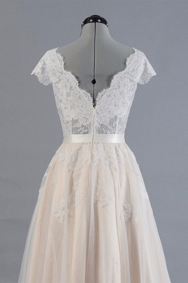 Affordable V-neck Shortsleeves A-line Wedding Dresses Champgne Tulle Lace Bridal Gowns On Sale_5
