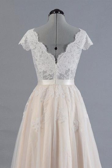 BMbridal Affordable V-neck Shortsleeves A-line Wedding Dresses Champgne Tulle Lace Bridal Gowns On Sale_5