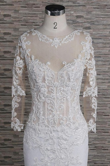 Modest Longsleeves Jewel Lace Wedding Dresses With Appliques White Tulle Bridal Gowns On Sale_4