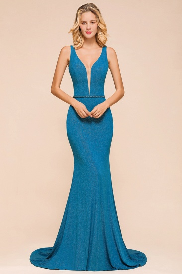 Shinning Blue Mermaid Long Prom Dress V-Neck Sleeveless Long Evening Gowns_1