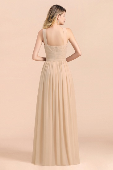 Gorgeous Straps Sleeveless Champagne Chiffon Affordable Bridesmaid Dresses Online with Ruffle_3