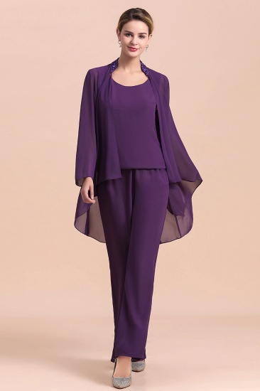 Affordable Straps Beading Grape Chiffon Mother of Bride Jumpsuit Online with Wrap_8