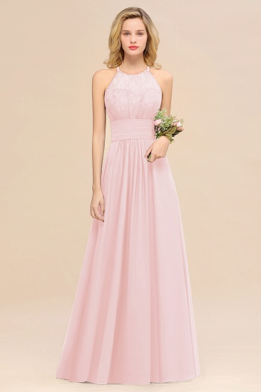 Elegant Halter Ruffles Sleeveless Grape Lace Bridesmaid Dresses Cheap_3