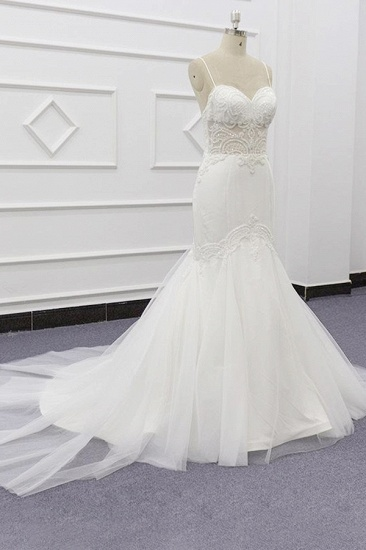 BMbridal Sexy Spaghetti Straps White Mermaid Wedding Dresses Tulle Sleeveless Bridal Gowns With Appliques On Sale_4