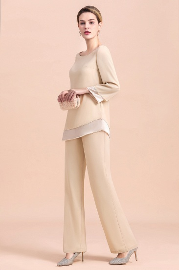BMbridal Chic Round-Neck Champagne Chiffon Mother of Bride Jumpsuit Online_5