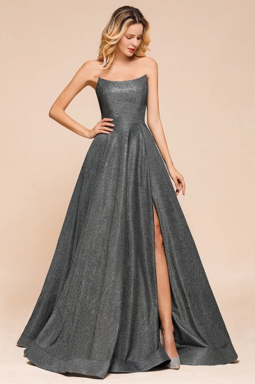 BMbridal Shinning Strapless Long Prom Dress Lace-up Evening Gowns With Split_4
