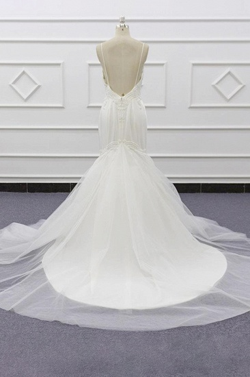 BMbridal Sexy Spaghetti Straps White Mermaid Wedding Dresses Tulle Sleeveless Bridal Gowns With Appliques On Sale_3