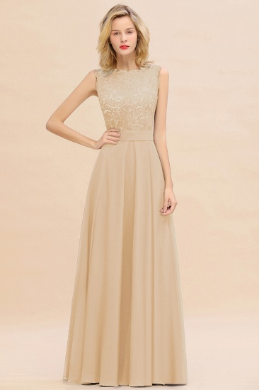 Exquisite Scoop Chiffon Lace Bridesmaid Dresses with V-Back_14