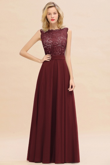 Exquisite Scoop Chiffon Lace Bridesmaid Dresses with V-Back_10