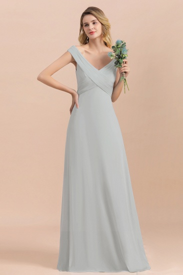 Modest Off-the-Shoulder Mist Chiffon Bridesmaid Dresses with Pleats